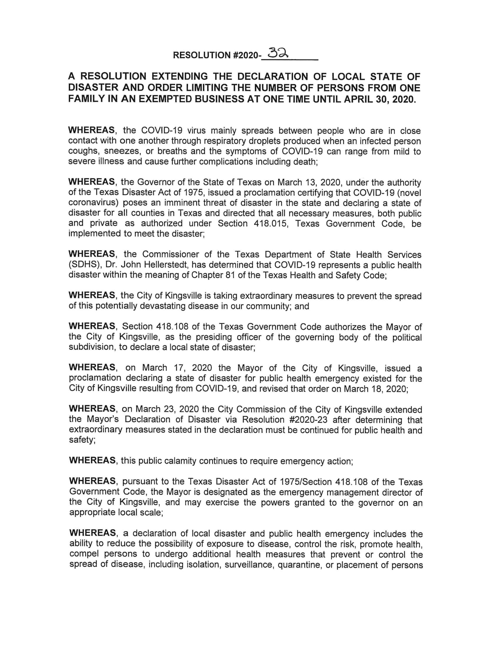 Resolution No. 2020-32-1