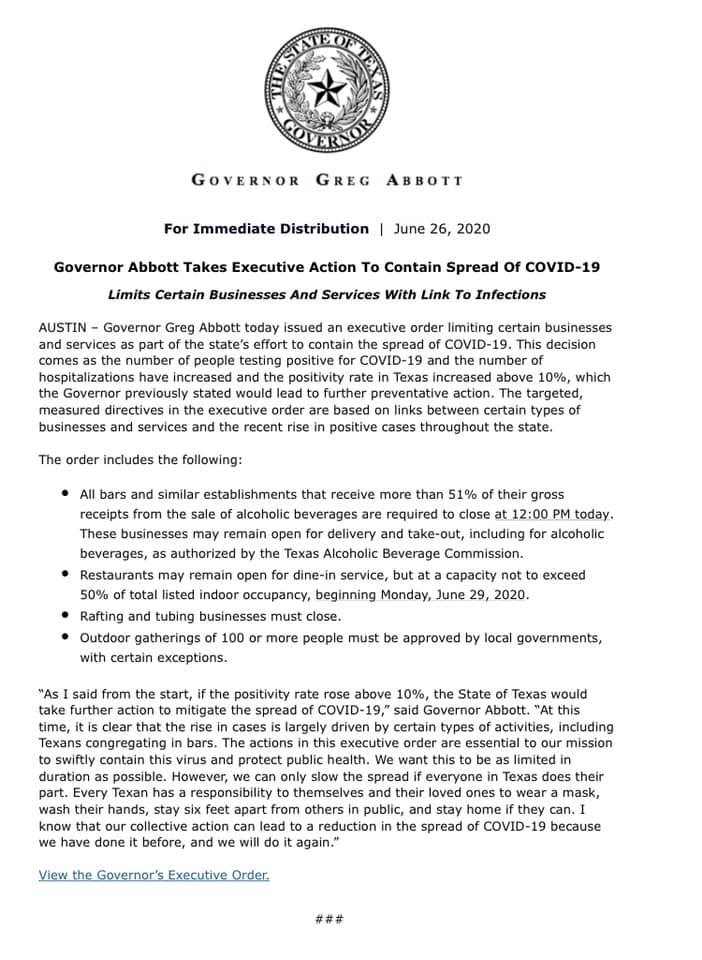 Governor Greg Abbott's Executive Order GA-28 in response to COVID-19 in Texas