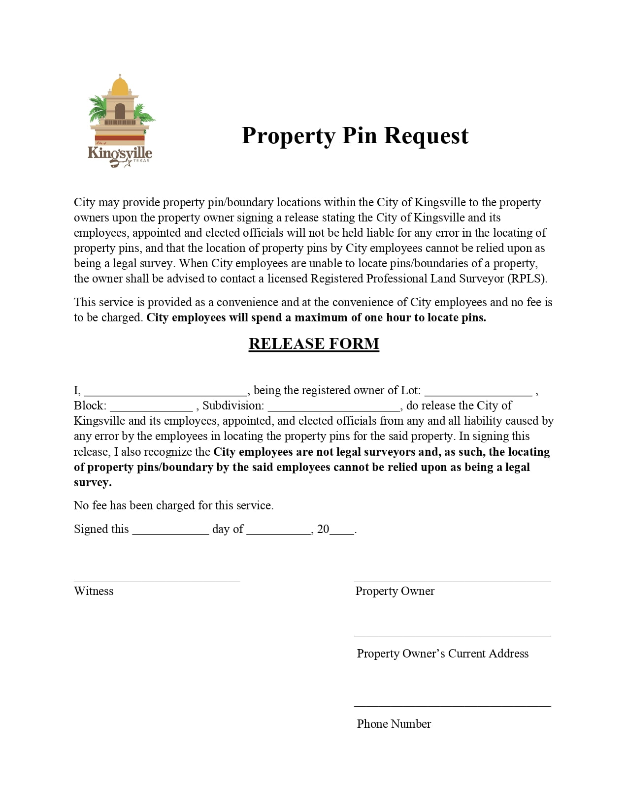 Property Pin Request